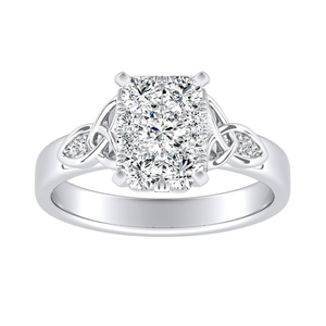 GIOVANNA Vintage Diamond Engagement Ring In 14K White Gold With Radiant Diamond In H-I SI1-SI2 Quality