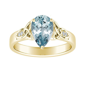 GIOVANNA  Vintage  Aquamarine  Engagement  Ring  In  14K  Yellow  Gold  With  1.00  Carat  Pear  Stone