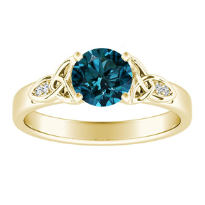 GIOVANNA  Vintage  Blue  Diamond  Engagement  Ring  In  14K  Yellow  Gold  With  0.50  Carat  Round  Diamond