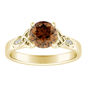 GIOVANNA  Vintage  Brown  Diamond  Engagement  Ring  In  14K  Yellow  Gold  With  0.50  Carat  Round  Diamond