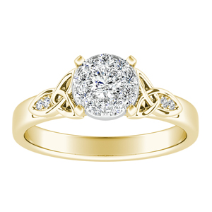 GIOVANNA Vintage Diamond Engagement Ring In 14K Yellow Gold With Round Diamond In H-I SI1-SI2 Quality