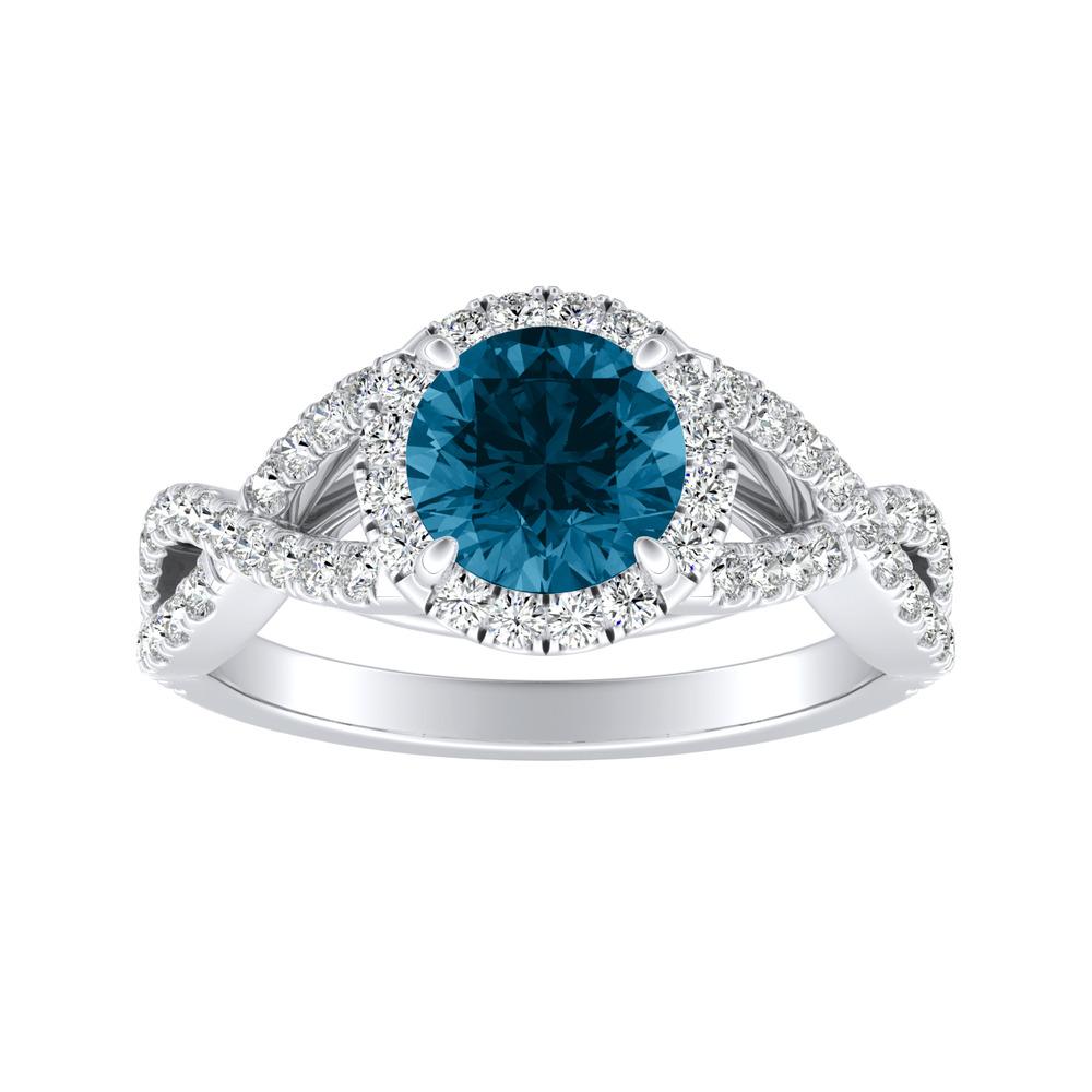 MADISON Modern Blue Diamond Engagement Ring In 14K White Gold With 0.50 Carat Round Diamond