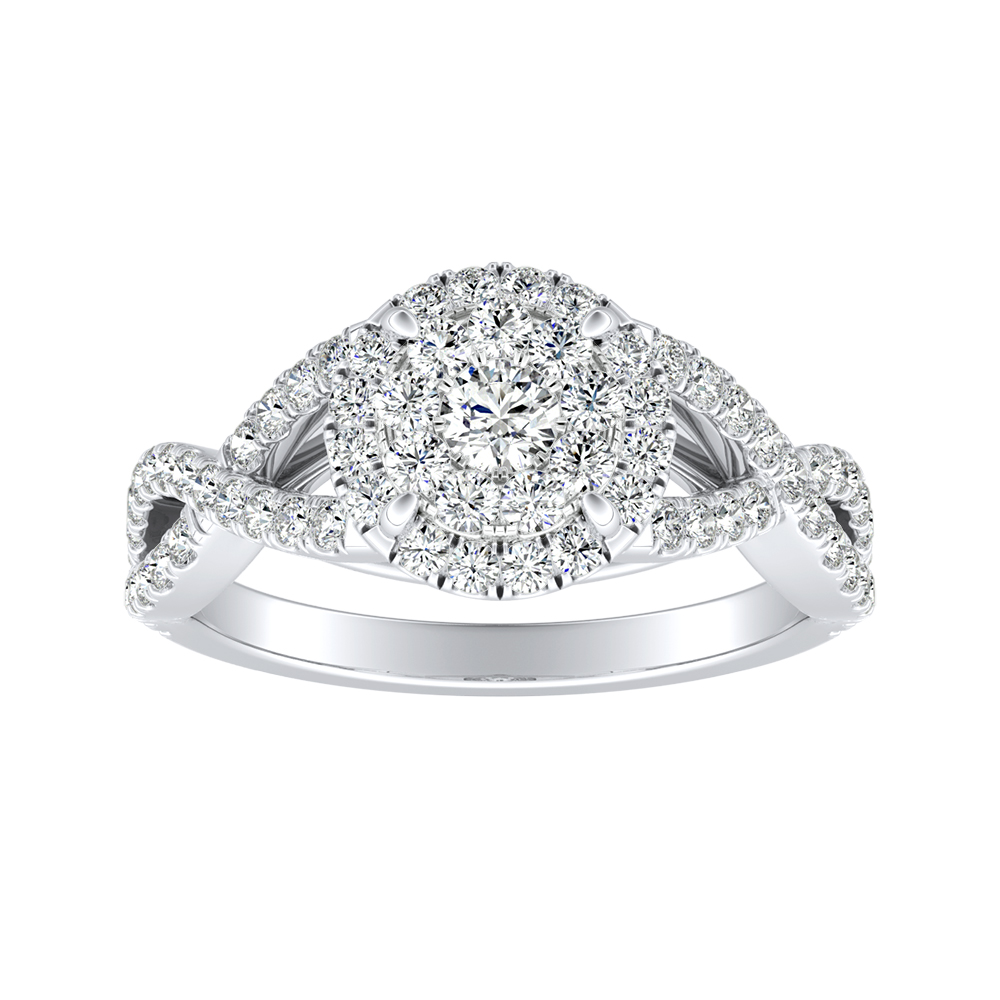 MADISON Modern Diamond Engagement Ring In 14K White Gold With Round Diamond In H-I SI1-SI2 Quality
