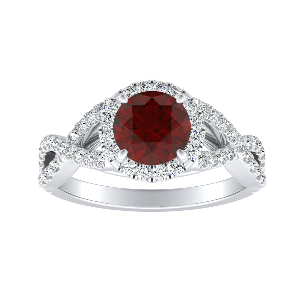 MADISON Modern Ruby Engagement Ring In 14K White Gold With 0.50 Carat Round Stone