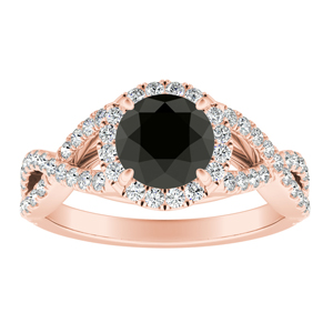 MADISON  Modern  Black  Diamond  Engagement  Ring  In  14K  Rose  Gold  With  1.00  Carat  Round  Diamond