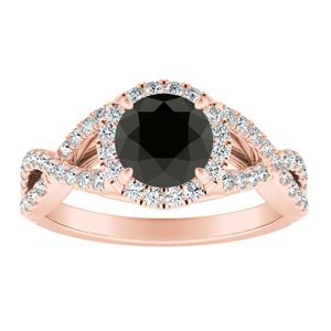 MADISON  Modern  Black  Diamond  Engagement  Ring  In  14K  Rose  Gold  With  1.00  Carat  Round  Diamond