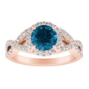 MADISON  Modern  Blue  Diamond  Engagement  Ring  In  14K  Rose  Gold  With  0.50  Carat  Round  Diamond