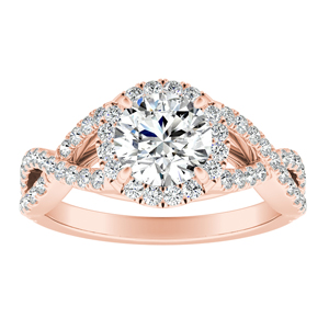 MADISON  Modern  Moissanite  Engagement  Ring  In  14K  Rose  Gold  With  0.50  Carat  Round  Stone