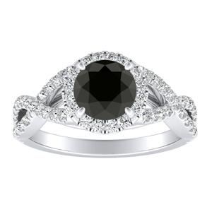 MADISON Modern Black Diamond Engagement Ring In 14K White Gold With 0.50 Carat Round Diamond