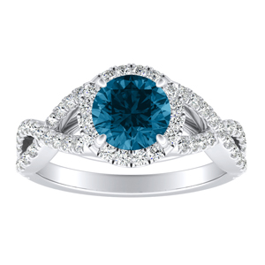 MADISON  Modern  Blue  Diamond  Engagement  Ring  In  14K  White  Gold  With  0.50  Carat  Round  Diamond