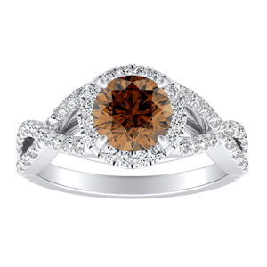 MADISON Modern Brown Diamond Engagement Ring In 14K White Gold With 0.50 Carat Round Diamond