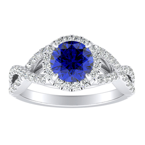MADISON Modern Blue Sapphire Engagement Ring In 14K White Gold With 0.50 Carat Round Stone