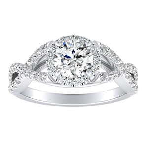 MADISON Modern Moissanite Engagement Ring In 14K White Gold With 0.50 Carat Round Stone