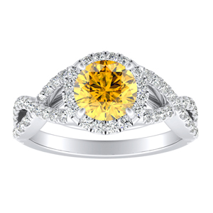 MADISON  Modern  Yellow  Diamond  Engagement  Ring  In  14K  White  Gold  With  0.50  Carat  Round  Diamond