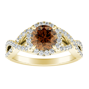 MADISON  Modern  Brown  Diamond  Engagement  Ring  In  14K  Yellow  Gold  With  0.50  Carat  Round  Diamond