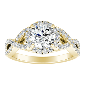 MADISON  Modern  Moissanite  Engagement  Ring  In  14K  Yellow  Gold  With  0.50  Carat  Round  Stone