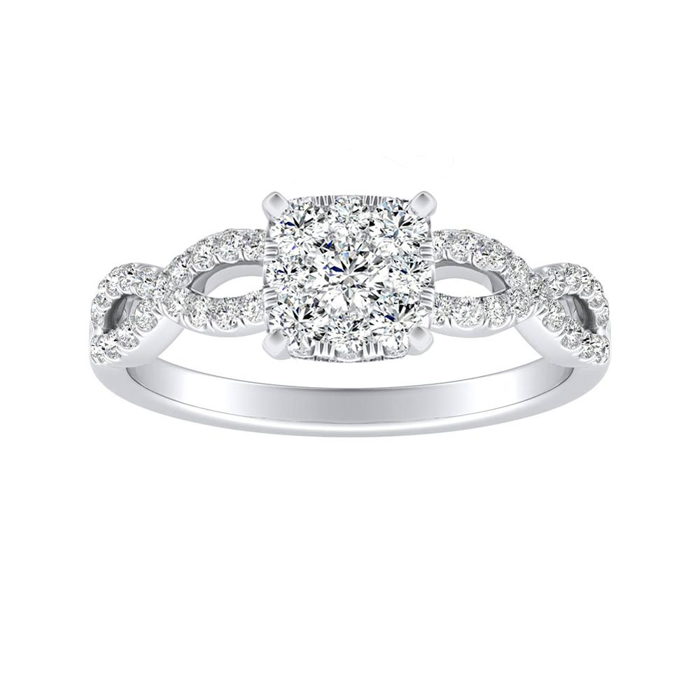CARINA Diamond Engagement Ring In 14K White Gold With Cushion Diamond In H-I SI1-SI2 Quality