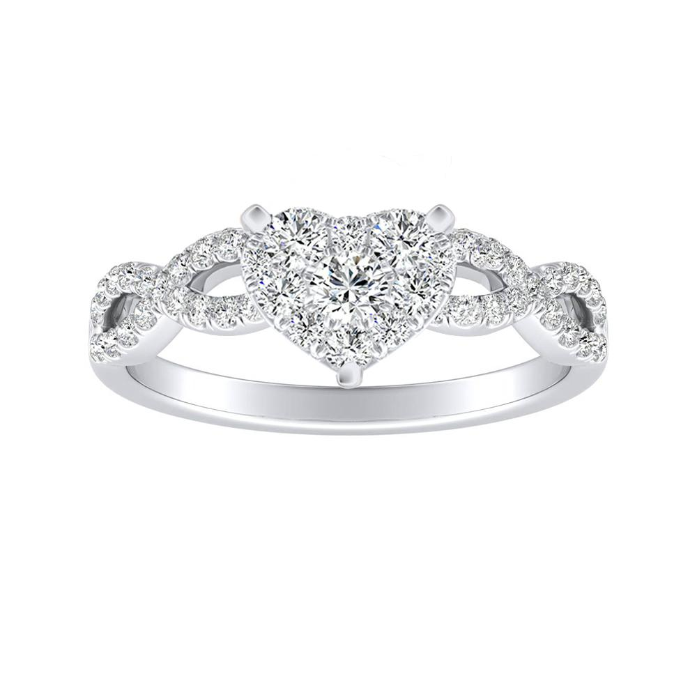 CARINA Diamond Engagement Ring In 14K White Gold With Heart Diamond In H-I SI1-SI2 Quality