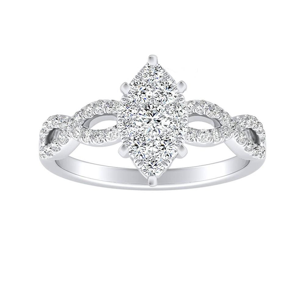 CARINA Diamond Engagement Ring In 14K White Gold With Marquise Diamond In H-I SI1-SI2 Quality