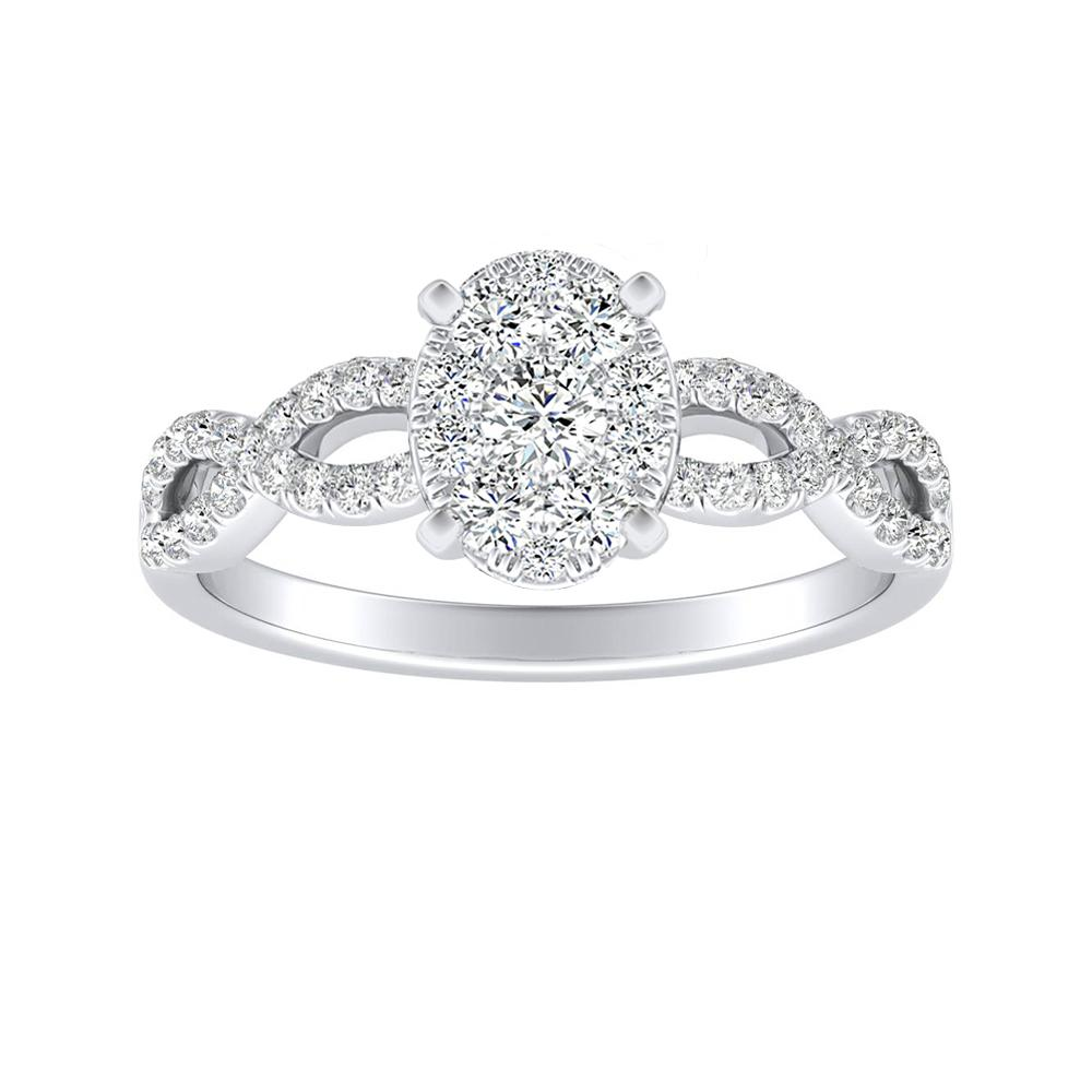 CARINA Diamond Engagement Ring In 14K White Gold With Oval Diamond In H-I SI1-SI2 Quality