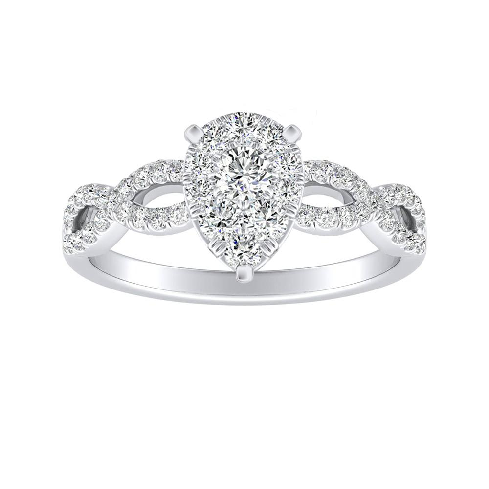CARINA Diamond Engagement Ring In 14K White Gold With Pear Diamond In H-I SI1-SI2 Quality