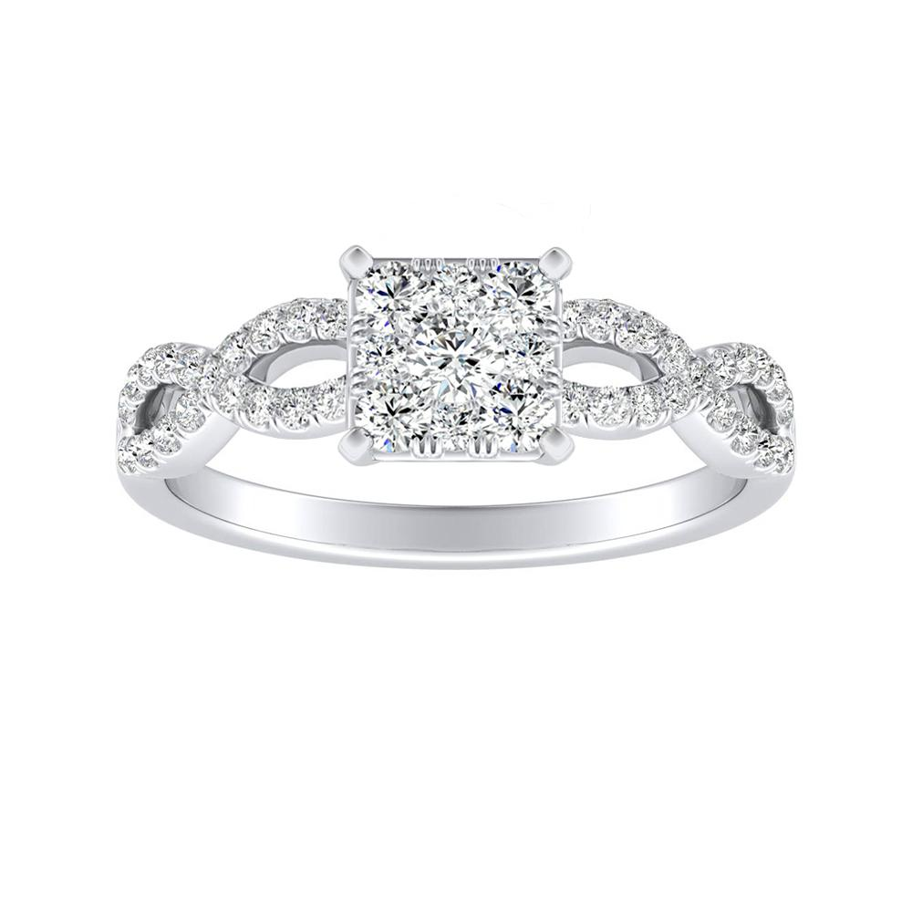 CARINA Diamond Engagement Ring In 14K White Gold With Princess Diamond In H-I SI1-SI2 Quality