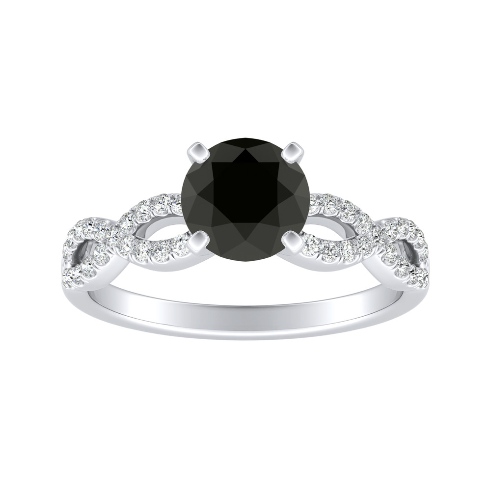 CARINA Black Diamond Engagement Ring In 14K White Gold With 1.00 Carat Round Diamond
