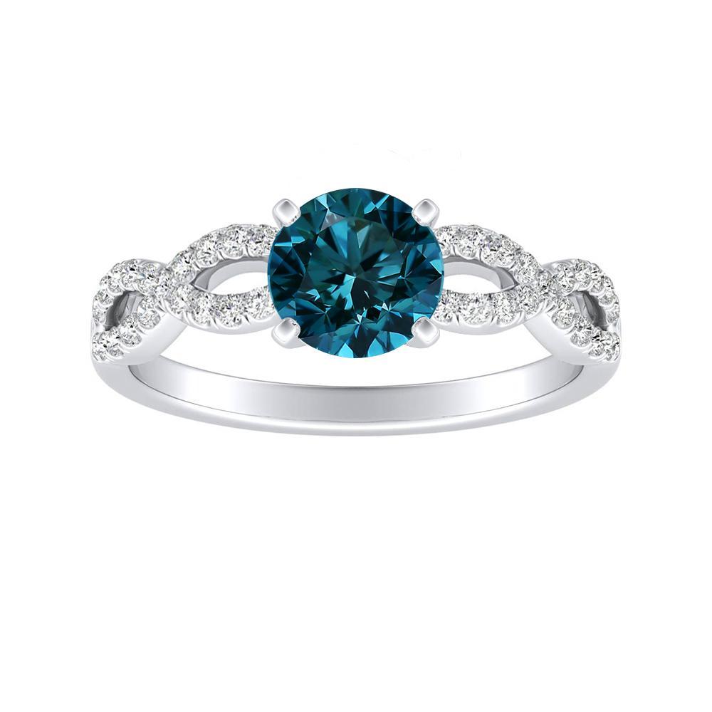 CARINA Blue Diamond Engagement Ring In 14K White Gold With 0.50 Carat Round Diamond