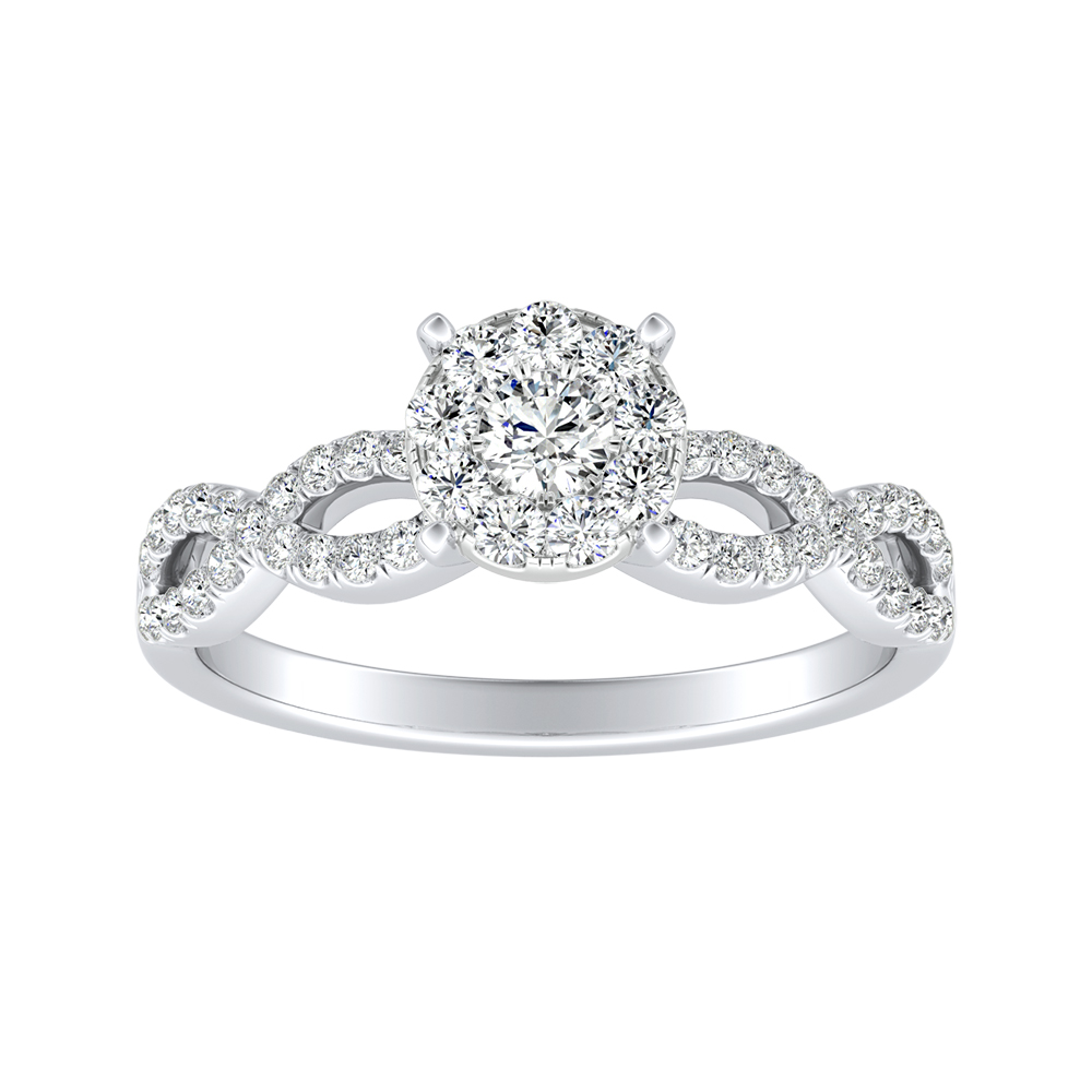 CARINA Diamond Engagement Ring In 14K White Gold With Round Diamond In H-I SI1-SI2 Quality