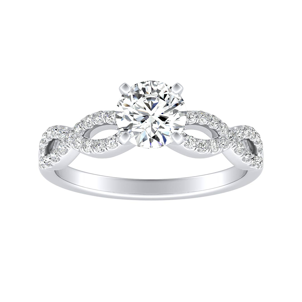 CARINA Moissanite Engagement Ring In 14K White Gold With 0.50 Carat Round Stone