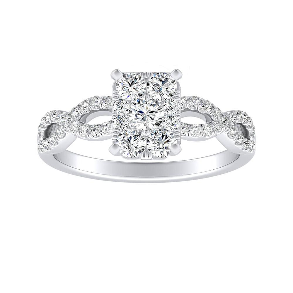 CARINA Diamond Engagement Ring In 14K White Gold With Radiant Diamond In H-I SI1-SI2 Quality