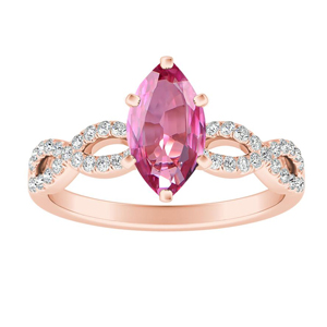 CARINA  Pink  Sapphire  Engagement  Ring  In  14K  Rose  Gold  With  0.50  Carat  Marquise  Stone
