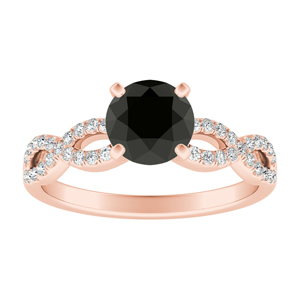 CARINA  Black  Diamond  Engagement  Ring  In  14K  Rose  Gold  With  1.00  Carat  Round  Diamond