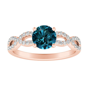 CARINA  Blue  Diamond  Engagement  Ring  In  14K  Rose  Gold  With  0.50  Carat  Round  Diamond