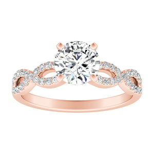 CARINA  Moissanite  Engagement  Ring  In  14K  Rose  Gold  With  0.50  Carat  Round  Stone