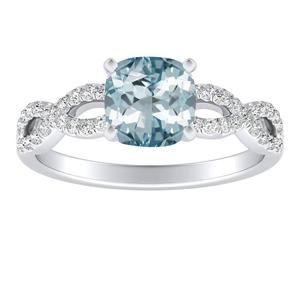 CARINA Aquamarine Engagement Ring In 14K White Gold With 2.00 Carat Cushion Stone