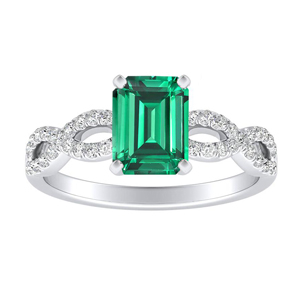 CARINA  Green  Emerald  Engagement  Ring  In  14K  White  Gold  With  0.50  Carat  Emerald  Stone