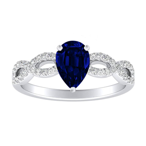 CARINA  Blue  Sapphire  Engagement  Ring  In  14K  White  Gold  With  0.50  Carat  Pear  Stone