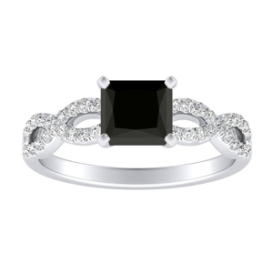 CARINA  Black  Diamond  Engagement  Ring  In  14K  White  Gold  With  1.00  Carat  Princess  Diamond