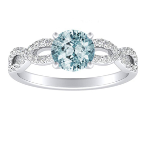 CARINA Aquamarine Engagement Ring In 14K White Gold With 1.00 Carat Round Stone