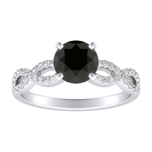 CARINA Black Diamond Engagement Ring In 14K White Gold With 0.50 Carat Round Diamond