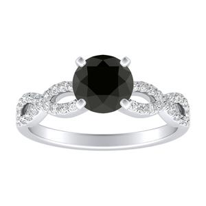 CARINA Black Diamond Engagement Ring In 14K White Gold With 1.00 Carat Round Diamond