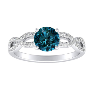 CARINA  Blue  Diamond  Engagement  Ring  In  14K  White  Gold  With  0.50  Carat  Round  Diamond