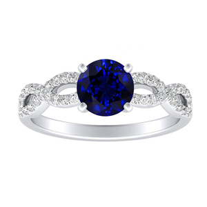 CARINA Blue Sapphire Engagement Ring In 14K White Gold With 0.30 Carat Round Stone