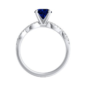 CARINA  Blue  Sapphire  Engagement  Ring  In  14K  White  Gold  With  0.50  Carat  Round  Stone