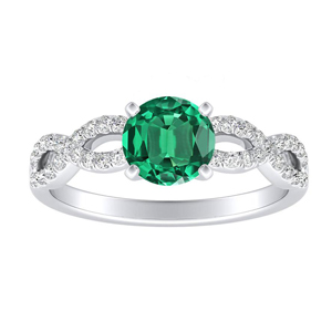 CARINA Green Emerald Engagement Ring In 14K White Gold With 0.30 Carat Round Stone