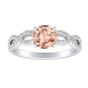 CARINA Morganite Engagement Ring In 14K White Gold With 1.00 Carat Round Stone