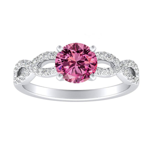 CARINA Pink Sapphire Engagement Ring In 14K White Gold With 0.30 Carat Round Stone