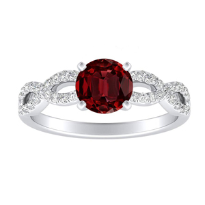 CARINA Ruby Engagement Ring In 14K White Gold With 0.30 Carat Round Stone