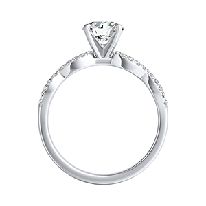 CARINA Diamond Wedding Ring Set In 14K White Gold With 0.50ct. Round Diamond